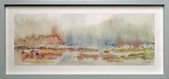 Nr. 101 Aquarell hinter  Glas und mit Holzrahmen (46x22)