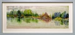 Nr. 104 Aquarell hinter  Glas und mit Holzrahmen (46x22)
